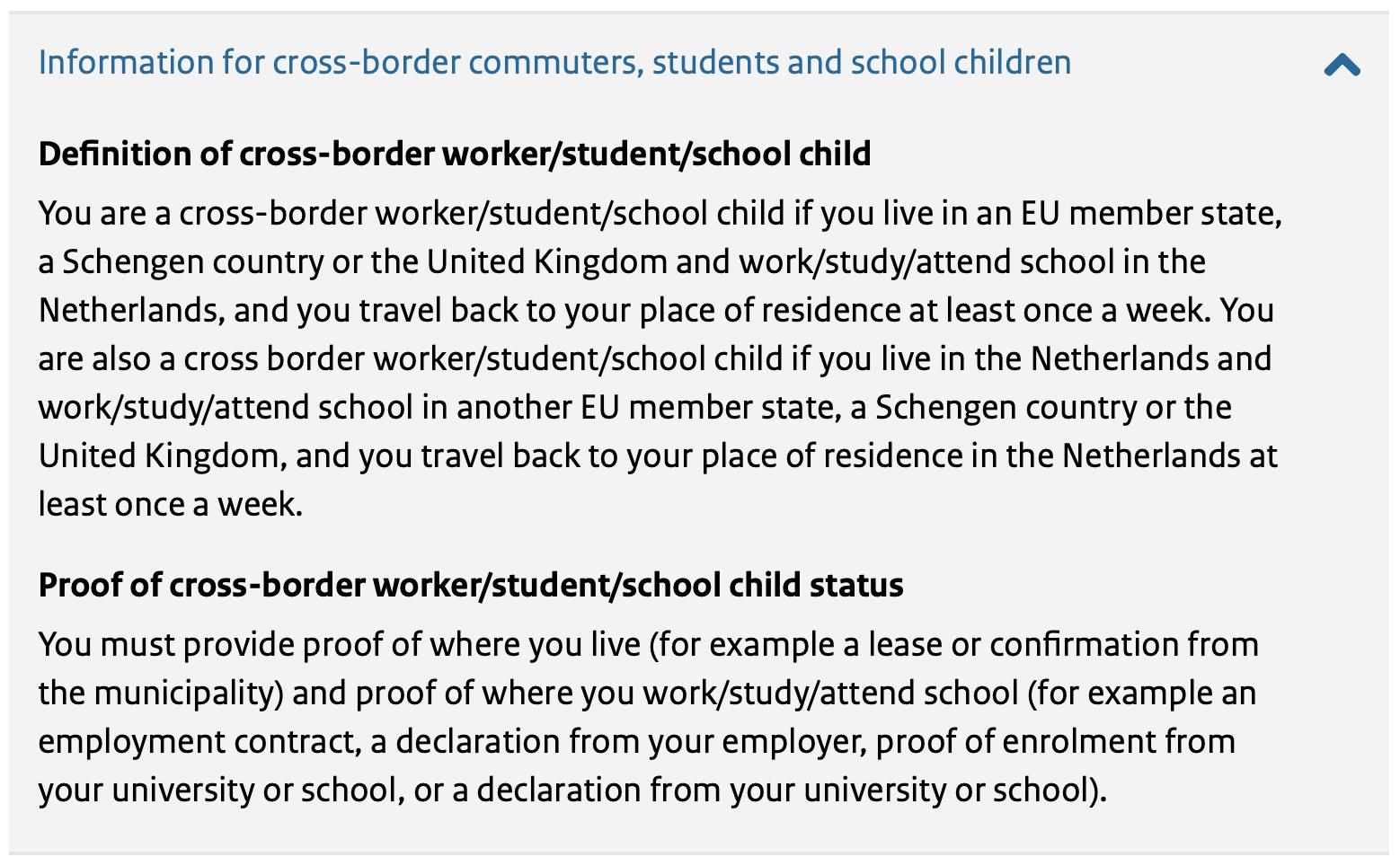 Definition Cross-Border Commuter Netherlands