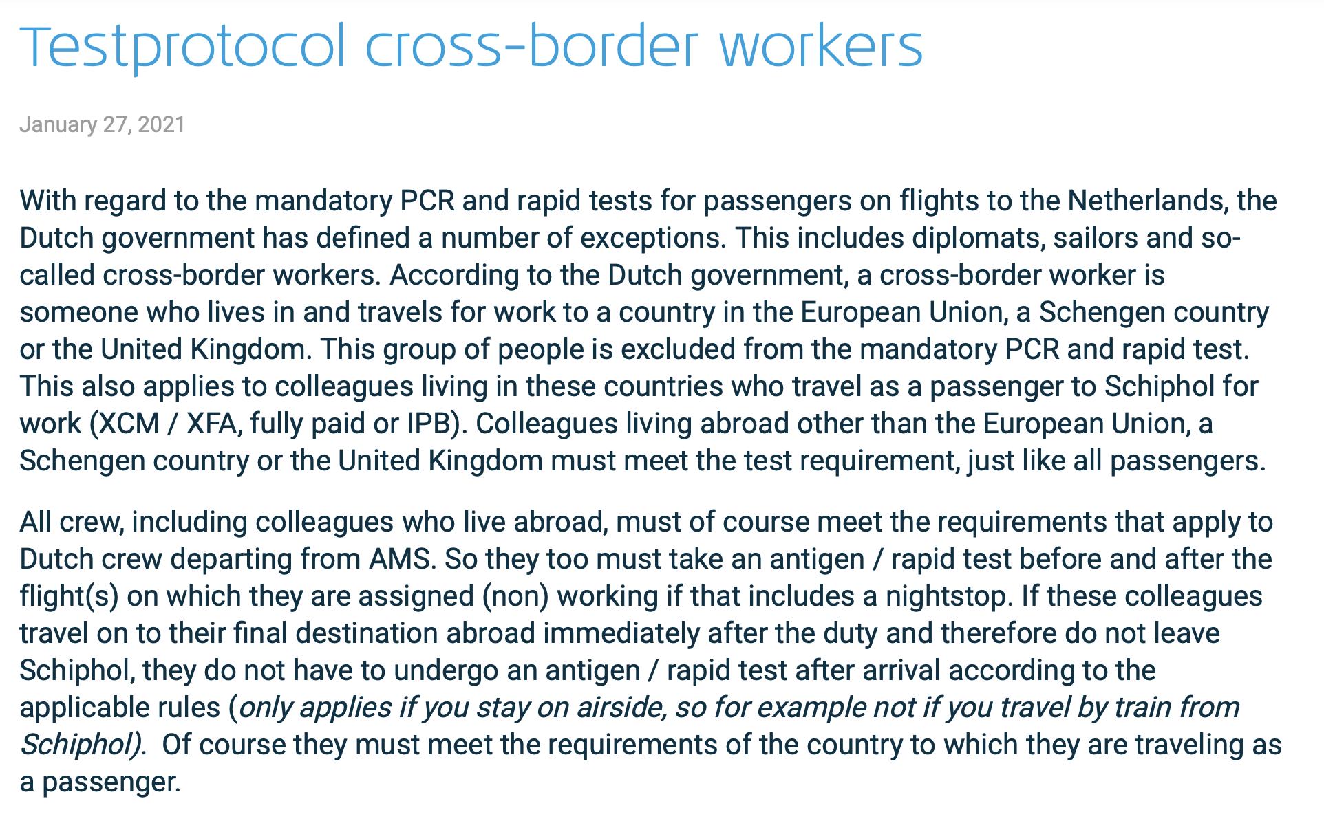 Cross-Border Commuter KLM Crew living abroad